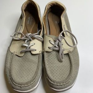 CLARKS Comfort Boat Shoes Loafers Gray & White  8